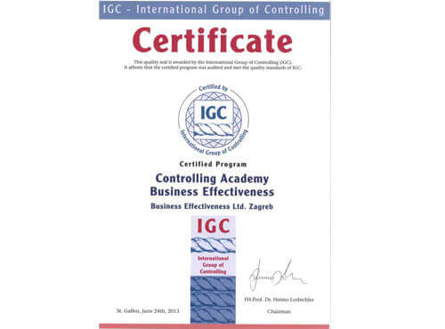 DODJELA POZNATOG IGC certifikata
